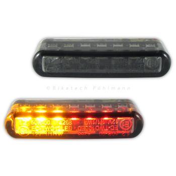 LED Einbaublinker Streak mit Rücklicht und Bremslicht getönt