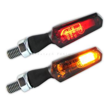 LED Blinker Nado schwarz mit Rücklicht und Bremslicht getönt