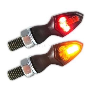 LED Blinker Shield schwarz mit Rücklicht und Bremslicht getönt