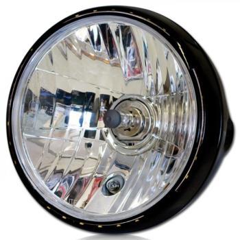 motorrad scheinwerfer new nevo 7 zoll h4 schwarz led ring. Black Bedroom Furniture Sets. Home Design Ideas